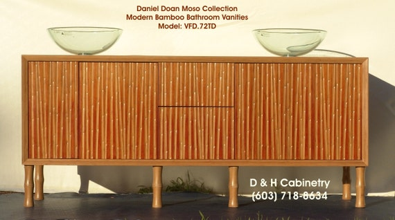 Items similar to 72 modern contemporary bamboo bathroom for Modern bamboo bathroom vanity