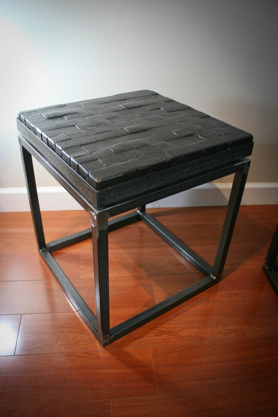 Block Wood Side Table ~ Nicholson pavement wood block side table seat chair vintage