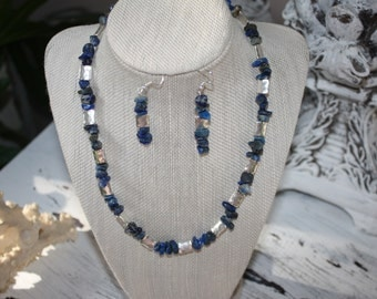 Lapis Lazuli Stone Necklace and Earing Set with Hammered Silver Beads