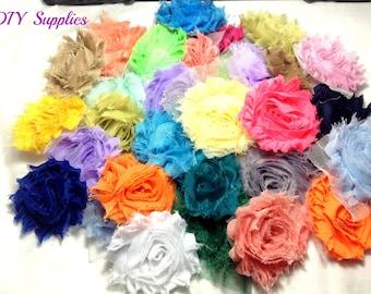 Grab bag shabby flower - wholesale flowers - shabby flower trim - shabby chic flower - chiffon trim - headband flower - frayed flower