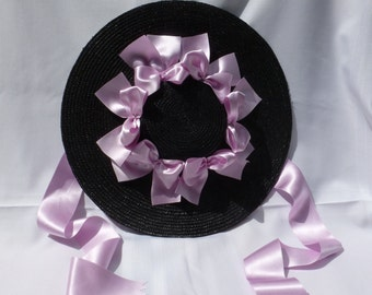 18th Century Shallow Crown Straw Hat Trimmed w/ Silk Satin Ribbon Bows for Colonial Rev War Reenacting Costume (ACC-H3)