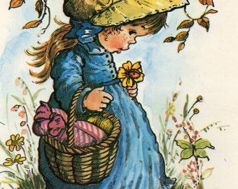 Vintage Postcard 70's sweet  girl and a hedgehog