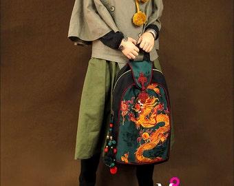 Miya's Original Ethnic Hmong Embroidered Bag Backpack Shoulderbag - Dragon of Prosperity