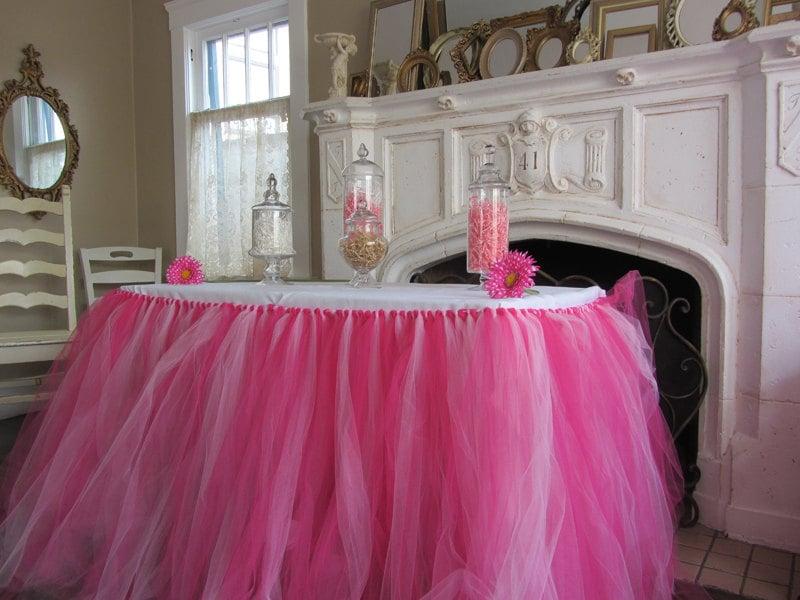 Custom Tulle Tutu Table Skirt Pinks
