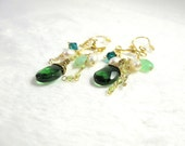Earrings - Green Briolette with Chrysoprase and pearls