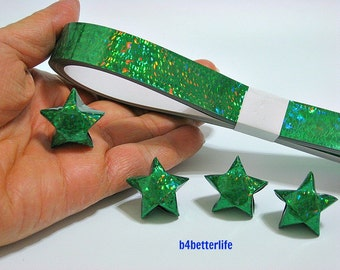 70 Strips of GREEN Color DIY Origami Paper Stars Kit For Big Lucky Stars. 50cm x 1.8cm. (4D Glittering paper series).
