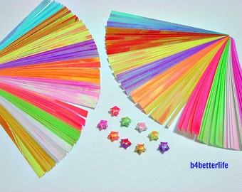 Pack of 240 Strips Micro Size Origami Lucky Stars Paper Folding Kit. 100mm x 5mm. (AV paper series). #SPK-111.