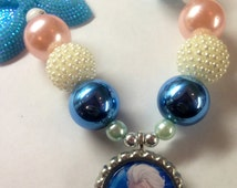 Frozen Elsa Necklace Inspired Chunky Bubblegum Bead Necklace Ready to Ship
