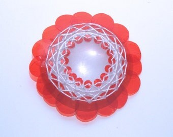 Red Turtle Brooch - Embroidered recycled plastic brooch