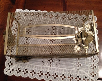 Vintage Gold Tone Mesh Tissue Holder