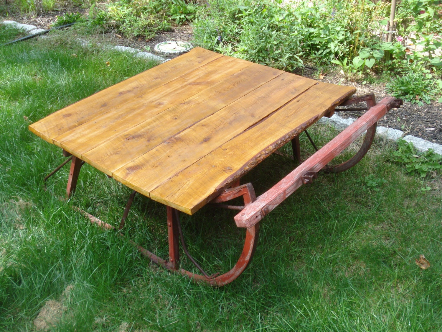 Antique sleigh coffee table primitive by celestialrecreations Antique sleigh coffee table