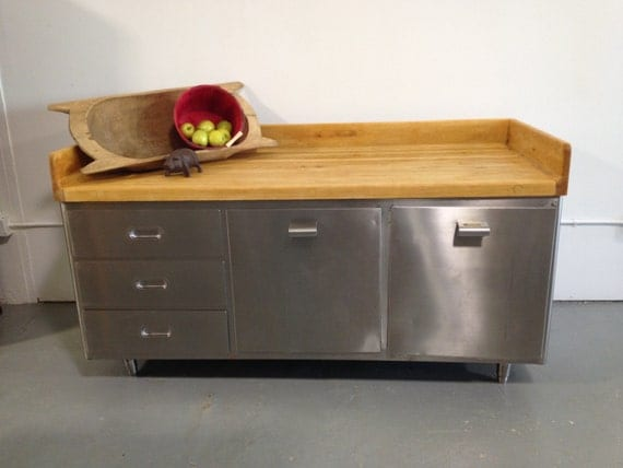72 Inch All Stainless Steel And Maple Bakers Table Reduced