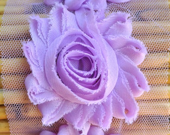 "2.5"" Lilac shabby flower trim - frayed chiffon - rose flowers by the yard - CF Sheer Lilac"