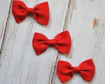 "Red Tuxedo Bows 3pc - 2.5"" inch - hair accessory - bow appliques - grosgrain bows"
