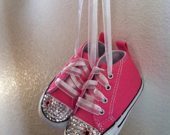 Bling Converse Crib Shoes with matching Flower