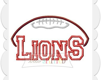 Lions Football Applique Embroidery Design