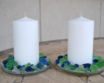 Sea Glass Candle Holder Set