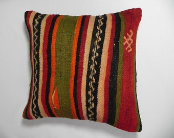 "Vintage, Home Decor, Pillow, Handwoven,Housewares, Turkish Kilim Embroidered Pillow Cover 16""x16"",Pillow,Vintage Kilim Pillow,Throw Pillow."