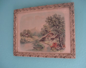 1920's Lithograph with Cottage Scene
