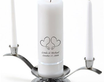 Personalized Wedding Unity Candle Set - Two Hearts - GC330 S17