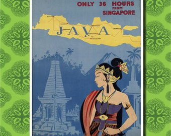 Java Indonesia Travel Poster Wall Decor (7 print sizes available)