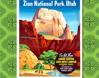 Zion National Park Travel Poster Wall Decor (7 print sizes available)