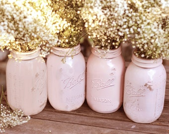 Shabby Chic Weddings / Mason Jars / Distressed Paint Glass Jar Wedding Decoration / Wedding Centerpiece in Shabby Chic Pink