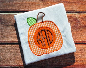 Monogrammed Pumpkin Shirt or Onesie - gingham
