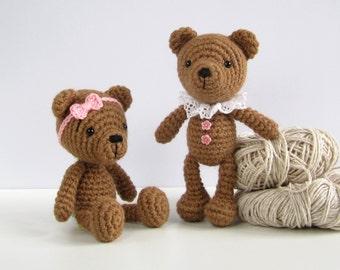 PATTERN: Small teddy bear - Amigurumi teddy bear pattern - Crocheted stuffed animal - Small soft toy pattern - EN-037