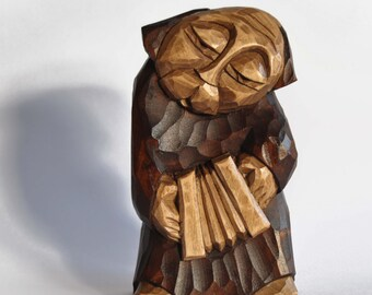 Accordionist  hand made wooden sculpture