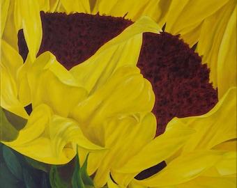 """Sunflower, Flower, Yellow, Sun, Original Oil Painting - """"Sun Seeker"""" (24"""" x 36"""")"""