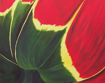 "Original Oil Painting, Tulip, Flower - ""Tulipe In Red"" (30"" x 48"")"