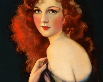 Art Deco Glamour Girl Print, Long Red Hair, by Knowles Hare, Wall Decor, Giclee Art Print, Portrait, Gorgeous Dream Girl, 1920s ,12x18