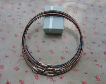 Mixed color--20pcs 18 inch 1mm stainless steel necklace cords/wires with stainless steel screw clasps--MN3072-20