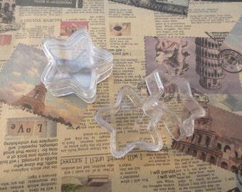 set of 30--mini clear plastic box--pentagram shape plastic box--plastic jewelry box--30x30x13mm--OC3026-30