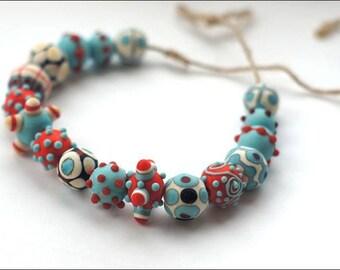 Etched lampwork bead set  Dots#3