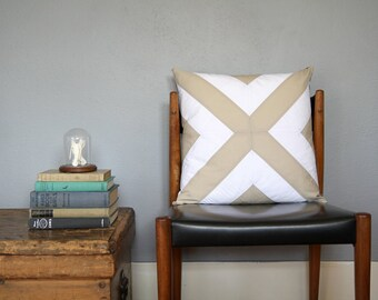 Beige and White Pieced X Pillow