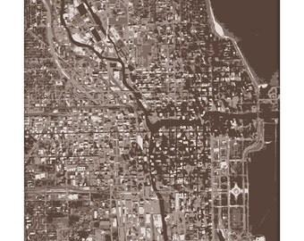 Chicago Cityscape Art Print / Chicago Map City Print / 8x10 / Choose your Color