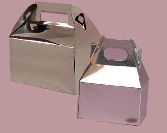 5 Silver metallic gable gift boxes, gift boxes,