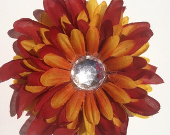 Large Red and Orange Flower Bow