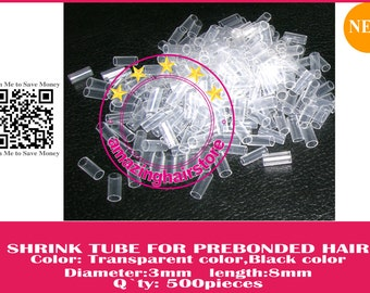 12000pcs Shrink Tube for PreBonded 100% Remy Human Hair I Tips Fusion Hair Extensions -Clear color- FREE SHIPPING