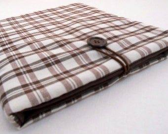 Plaid custom tablet case - white and brown iPad cover - iPad Air cover