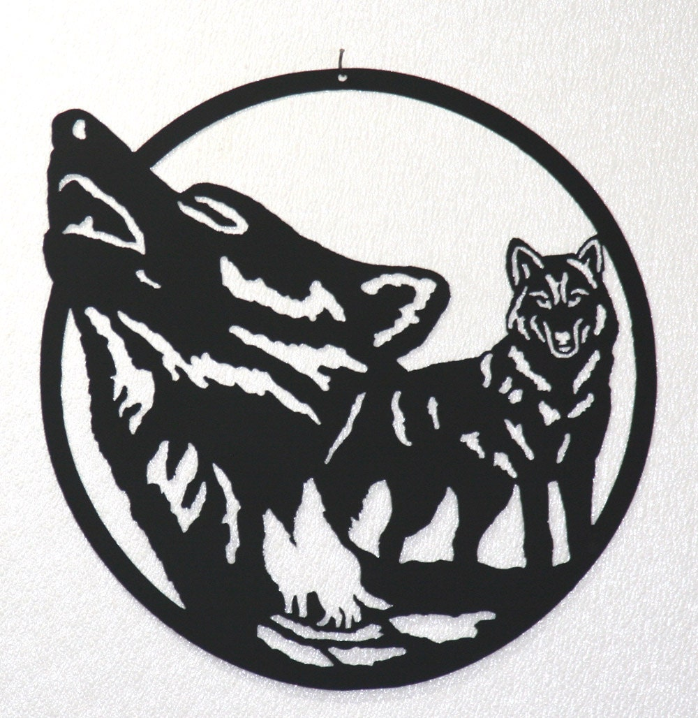 Wolf pack silhouette wall art metal art home decor for Silhouette wall art
