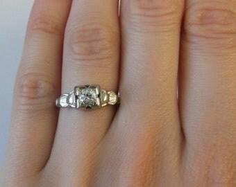 Antique 1/10ct Diamond Engagement Ring 18K Gold Size 6 1/4