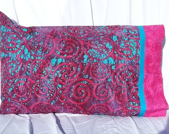 Luxurious color and style in BATIK fabric, bright and bold color pillowcase!