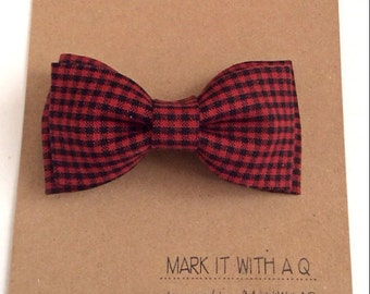 Black and Red Gingham Bow tie