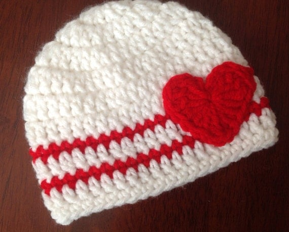 ... Hat Red and White Hat Baby Valentines Hat Valentines Crochet Hat