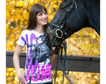 Equestrian Cross Country Jumping White Short Sleeve Horse T Shirt