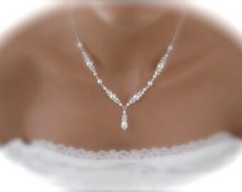pearl and rhinestone necklace Bridal Jewelry Swarovski pearl and crystal Wedding Jewelry White Pearl Wedding Necklace