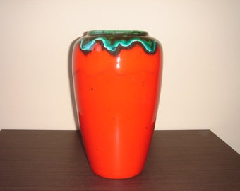 Bay, Large Vase, Red Green, Nr 638-30, West German Pottery, 1960s